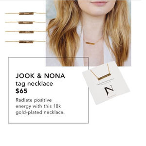 Jook & Nona Tag Necklace Engraved  18K Gold Love